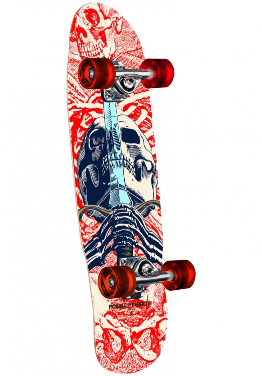 Скейтборд POWELL PERALTA Mini Skull & Sword White 8 дюймов